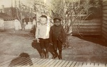"""LU-083.1768 - Photo of two small children. Captioned """"Shadow & Light, Farmville, 1904."""""""