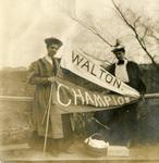 "LU-083.1769 - Two unidentified women holding banners that read ""Walton"" & ""Champion"""