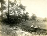 LU-157.0157 - Four unidentified people on creek bank by John Chester Mattoon