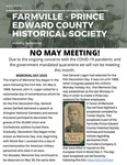 FPEHS, May 2020 Newsletter by Farmville-Prince Edward Historical Society