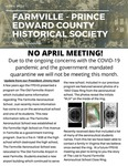 FPEHS, April 2020 Newsletter by Farmville-Prince Edward Historical Society
