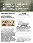 FPEHS, February 2020 Newsletter by Farmville-Prince Edward Historical Society