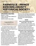 FPEHS, March 2020 Newsletter by Farmville-Prince Edward Historical Society