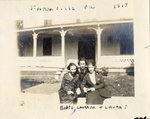 """LU-387.004, Three women in front of unidentified home. Inscribed on top margin, """"Farmville, Va. 1919"""" and on bottom margin, """"Boots, Laura M., & Laura T."""" by Katherine Krebs"""