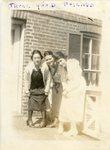 "LU-387.011, Three unidentified women standing next to railing on elevated breezeway. Inscribed along top margin, ""Three good friends."" by Katherine Krebs"