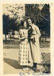 "LU-387.016, Two women standing on sidewalk on High Street. Methodist Church in background. Inscribed on bottom margin, ""Eva & Burdette."" by Katherine Krebs"